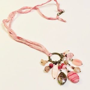 Silk Sari Ribbon Pastel Pink Assemblage Necklace